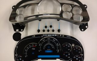 PLK0530 Custom Escalade Upgrade Kit with black gauge face. Blue or white pointers. Fits: 2003, 2004, 2005 GM Trucks and SUVs. Silverado, Tahoe, Avalanche, Suburban, Yukon and Sierra.