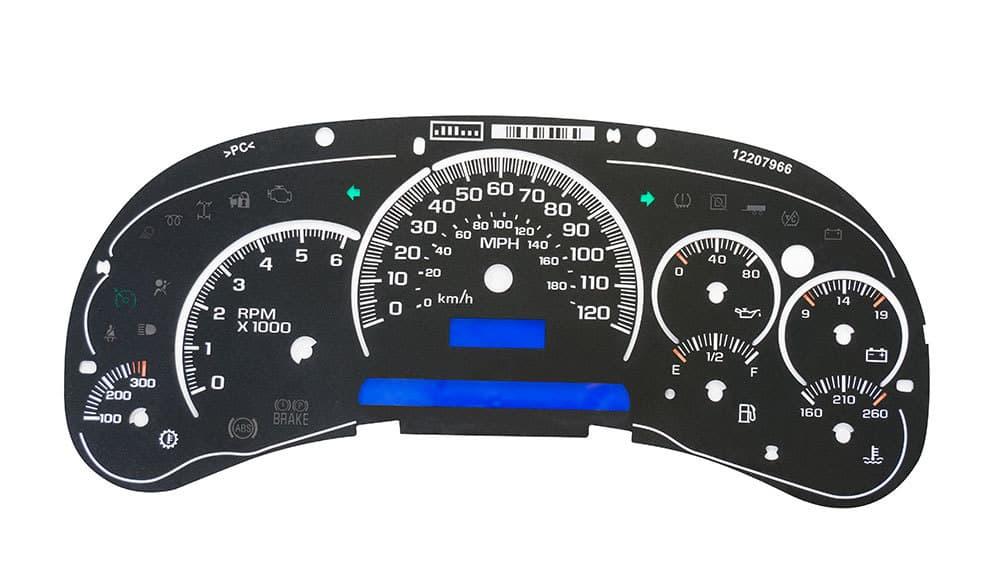 For GM Silverado Sierra Tahoe White Gauge Face Overlay LED Version Trans Temp